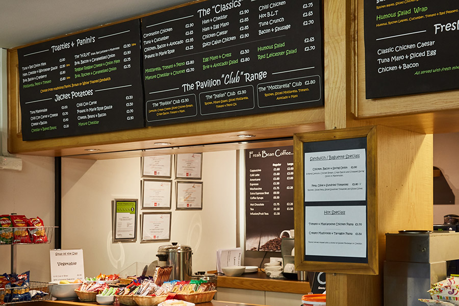 Menu of on site Pavilion Cafe