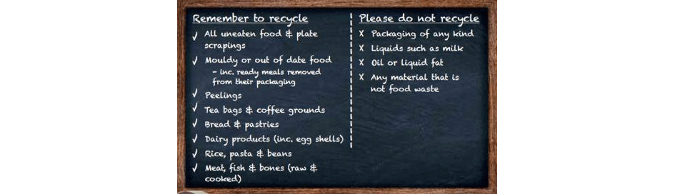 Food Waste Recycling chalkboard list from recyclenow