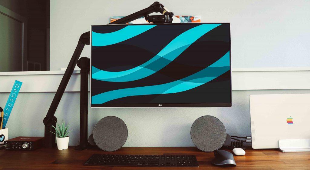 speaker setup on desk