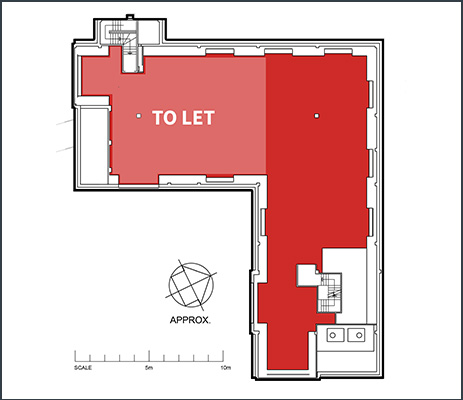 Floorplan showing 1,750 sq ft office space to rent within the second floor of Ash House at Tanshire Park Surrey business park