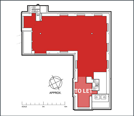 Floorplan showing 440 sq ft office space to rent within the second floor of Ash House at Tanshire Park Surrey business park