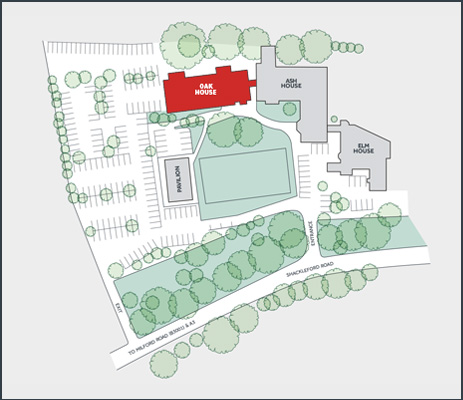 Site map of Tanshire Park Surrey business park showing Ash House office space to rent